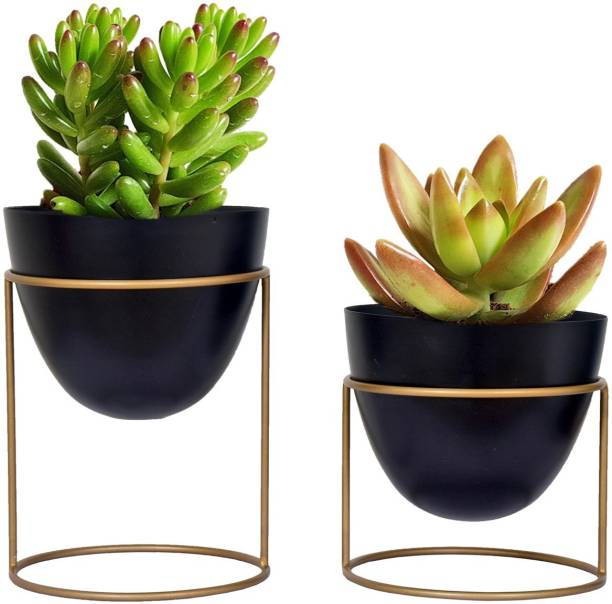 ecofynd 6 Inches Alle metal plant pot with stand for indoor outdoor home décor ( Set of 2 ), Modern style planter set Plant Container Set