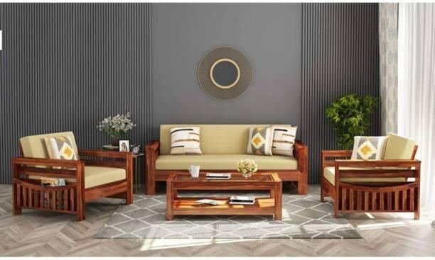 PR FURNITURE Premium Quality Sheesham Wooden Five Seater (3+1+1) Sofa For Living Room | Cushion:- Cream | Finish :- Honey FInish Fabric 3 + 1 + 1 Honey Finish Sofa Set