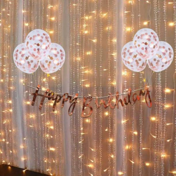 Cakeshala Solid Rose Gold Birthday Decoration Items Kit- 10Pcs Bday Banner Confetti Balloon with Led Light for Kids, Girls, Wife Bday Decorations Items with Fairy Lights Balloon