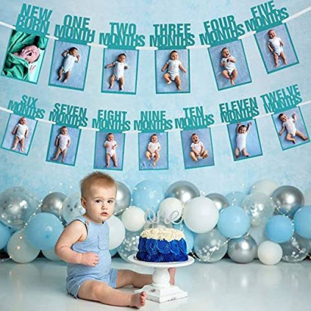 AMFIN New Born 1st Birthday Baby Photo Banner Blue / Growth Record 1-12 Months / Monthly Milestone Photo Bunting Wreath, First Birthday Party Decoration Banner