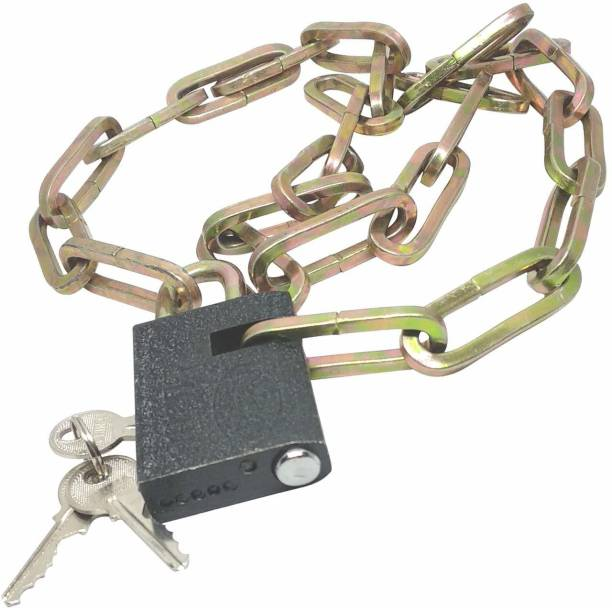 Gadget Deals Heavy Stainless-Steel Chain with Medium Size Lock for Travel, Luggage, Safety,Bike Cycle Lock