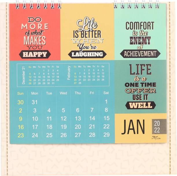 Modaro 2022 Desktop Calendar Table Calendar 2022 with HD Printing | 21 cm x 21 cm | Motivational Quotes 2022 Table Calendar