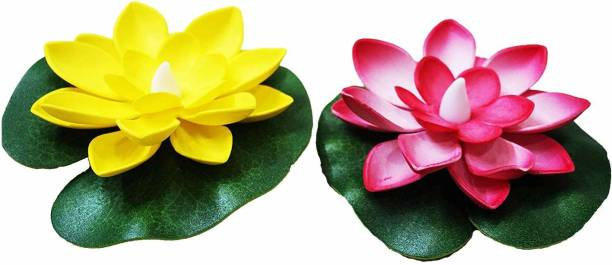 Infinity Creation Water Floating Smokeless Candles & Lotus Flowers Sensor Led TeaLight Unbreakable for Outdoor and Indoor Decoration - Pack of 2 Candle Candle
