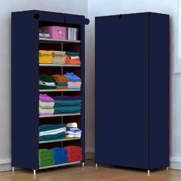Lacossi 1 Door 6 Shelf Fabric PP PVC Collapsible Wardrobe
