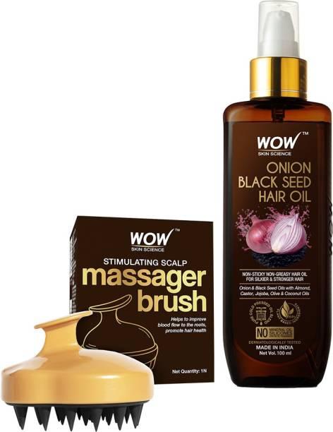 WOW SKIN SCIENCE Onion Black Seed Oil Hair Care Kit (Hair Oil+ Massager HairBrush)