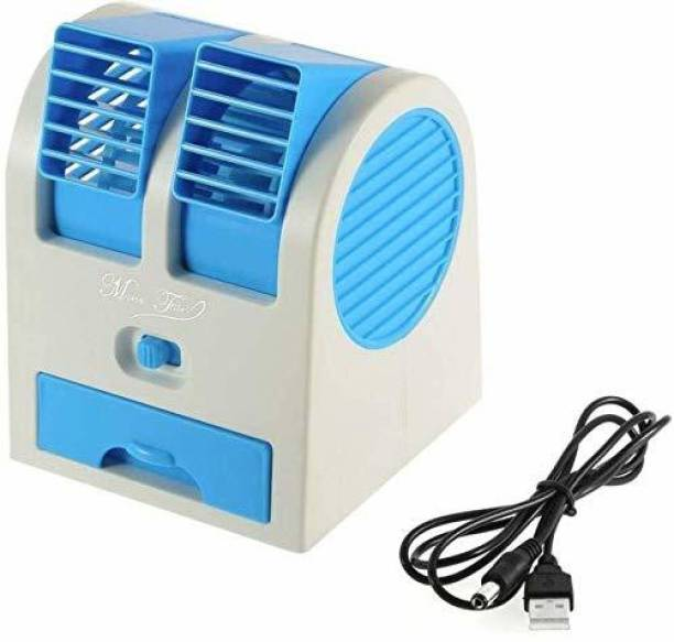 UnV Portable Plastic Air Conditioner Water Cooler Mini Fan and Dual Bladeless for Use in Car Home Office (Small_Multicolour) Cooler