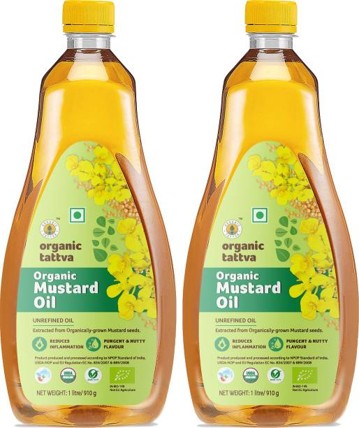 Organic Tattva -Organic Mustard Unrefined Oil- 2 Litre   Extracted from Organically Grown Mustard Seeds   Reduces Inflammation  Pungent and Nutty Flavour Mustard Oil PET Bottle