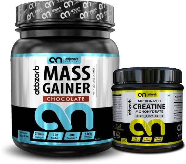 Abbzorb Nutrition mass gainer 1kg(Chocolate)+ Creatine 250G Combo
