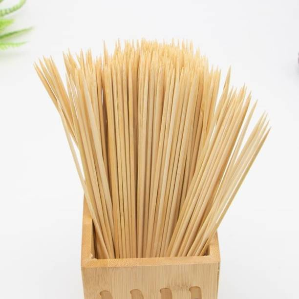 BadiWal Bamboo Skewers Round 8 Inch For Cooking Seekh Kabbs,Barbecue,Grilling,Roasting ,Etc Disposable Bamboo Roast Fork, Salad Fork, Fruit Fork, Fisk Fork Set. Disposable Wooden Dessert Fork, Fruit Fork, Roast Fork, Serving Fork Set