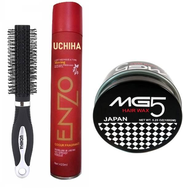 Uchiha Hair Styling Roller Comb, Hair Holding Enzo Hair Spray & MG5 Strong Hair Styling Wax Hair Spray