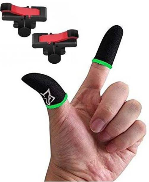 GO SHOPS Combo Pack of Touch smoothly Run Blue Finger Sleeve Cap and Fastest Firing sensored Trigger for Sweat Breathable Full Touch Screen to Mobile pubg/Call Off Duty/Free fire Game Trigger for OnePlus Nord 2 /8T/8/7T/7/7 Pro 9r pro  Joystick