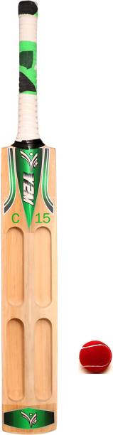 Y2M Best Quality 4 Capsule Scoop Design Poplar Willow Bat (Short Handle) C15 With One Tennis Ball Cricket Kit