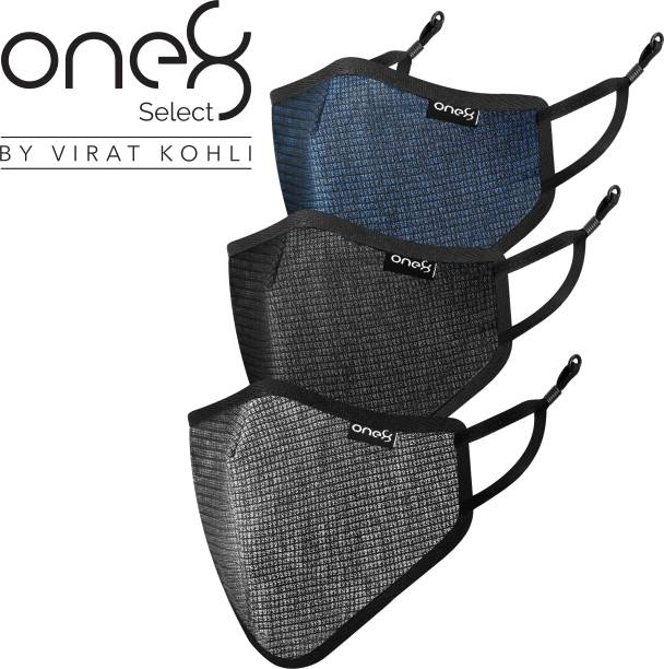 one8 Select By Virat Kohli OM-9003-3 Adjustable Ear Loop Reusable Outdoor 3D Mesh Mask Anti-Pollution, Anti-Dust, Anti-Bacterial Non-Woven Cloth Mask With Melt Blown Fabric Layer (Multicolour, Free Size, Pack of 3) Cloth Mask With Melt Blown Fabric Layer