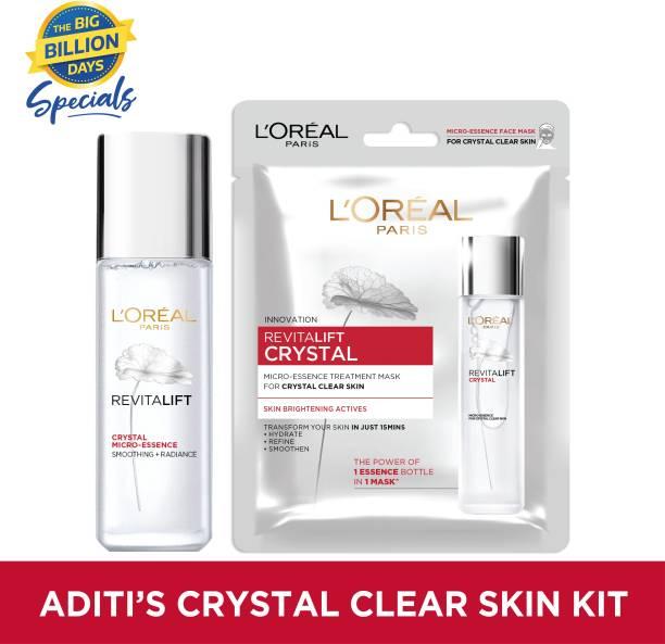 L'Oréal Paris Aditi's Crystal Clear Skin Kit | Revitalift Crystal Micro-Essence, 22ml + Revitalift Crystal Micro-Essence Sheet Mask, 25gm (Combo Offer)