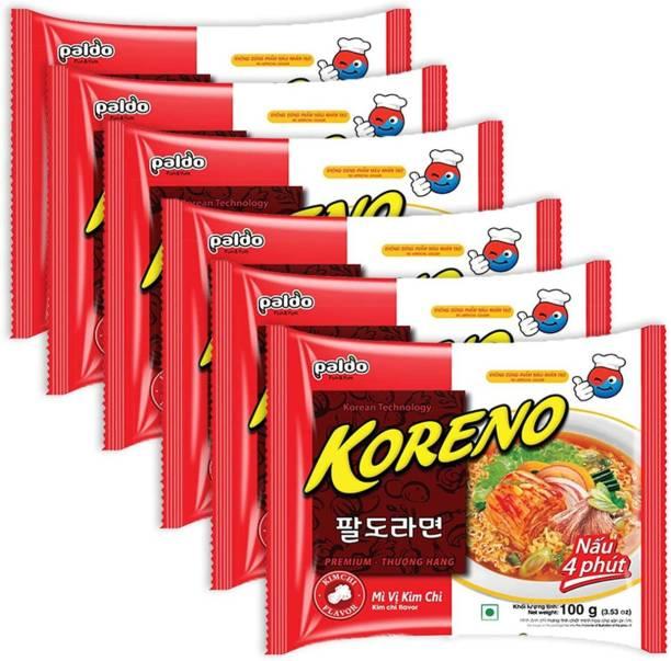 Paldo Koreno Kimchi Flavour Instant Korean Noodles- 100g (Pack of 6) (Imported) Instant Noodles Vegetarian