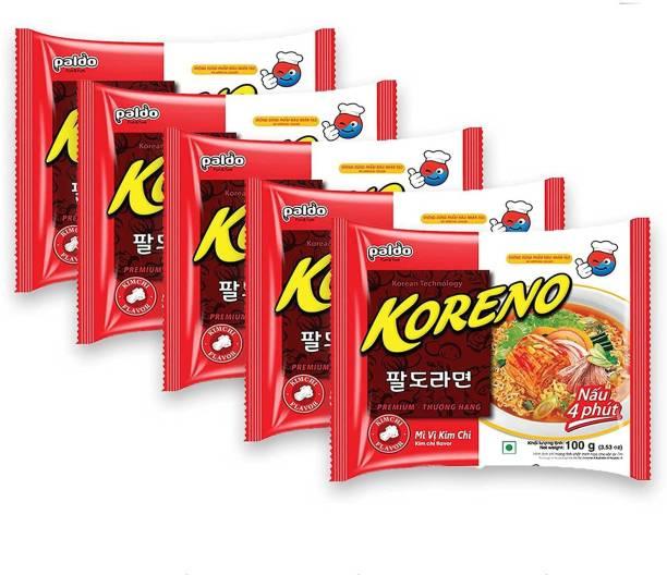 Paldo Koreno Kimchi Flavour Instant Korean Noodles- 100g (Pack of 5) Instant Noodles Vegetarian