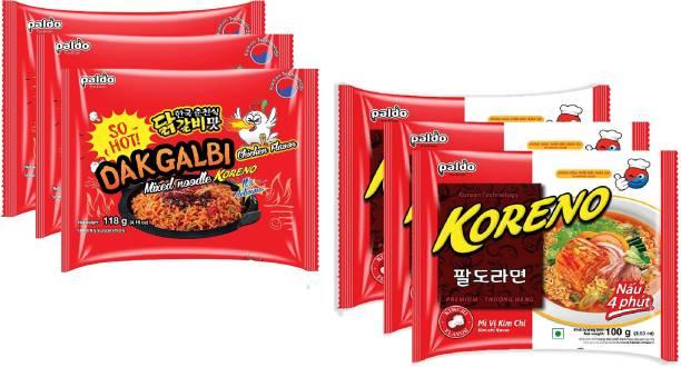 Paldo Koreno Instant Korean Noodles- Kimchi Flavour and Dakbalgi Flavour Instant Noodles Non-vegetarian