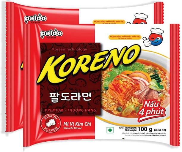 Paldo Koreno Kimchi Flavour Instant Korean Noodles- 100g (Pack of 2) (Imported) Instant Noodles Vegetarian