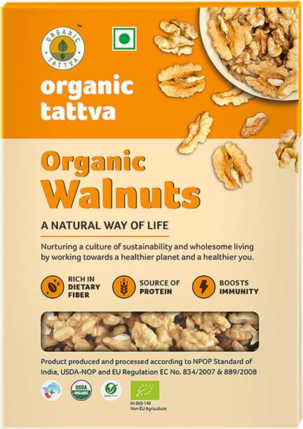 Organic Tattva - Organic Walnuts (Akhrot Giri) 250 Gram | Rich in Dietary Fiber, Protein and Antioxidants | NO Cholesterol and NO Trans-Fat | Boosts Immunity and Supports Nerve |Healthy Walnuts