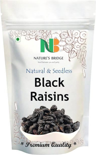 Nature's Bridge Seedless Black Raisins - 900 Gm, Dried Kishmish Without Seeds, Dry Grapes, Kali Kismis Dry Fruits, Kali Darakh Raisins