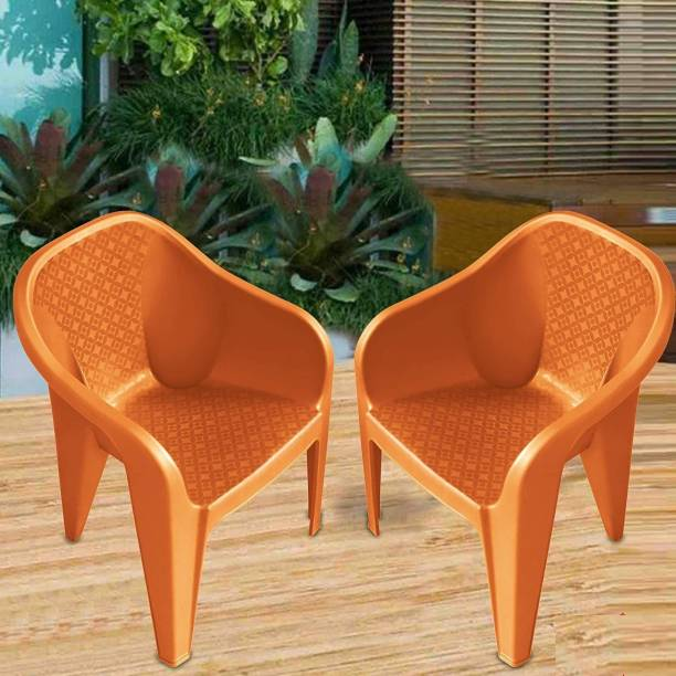 MAHARAJA Sigma Plastic Chair Set of 2 with Matt & Glossy Texture for Home, Office and Restaurant(Orange) Plastic Cafeteria Chair