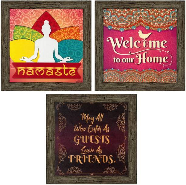 Indianara Set of 3 Welcome Home Framed Wall Hanging Laminated Paintings Matt Art Prints 9.5 inch x 9.5 inch each without Glass (1519EBY) Digital Reprint 19 inch x 19 inch Painting
