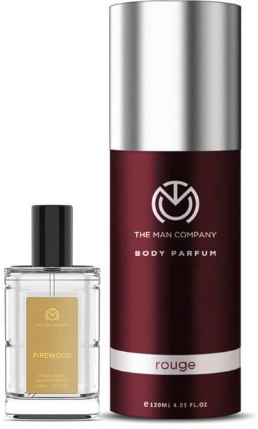 THE MAN COMPANY Luxury Perfume Set with Rouge, Firewood for Men | Premium Luxury Long Lasting Fragrance | Premium Spray | Body Perfume for Men | No Gas Deodorant Perfume  -  150 ml