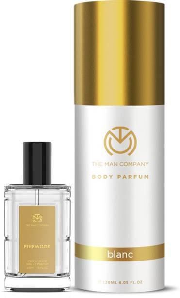 THE MAN COMPANY Luxury Perfume Set with Blanc, Firewood for Men | Premium Luxury Long Lasting Fragrance | Premium Spray | Body Perfume for Men | No Gas Deodorant (120ml + 30ml) Perfume  -  150 ml