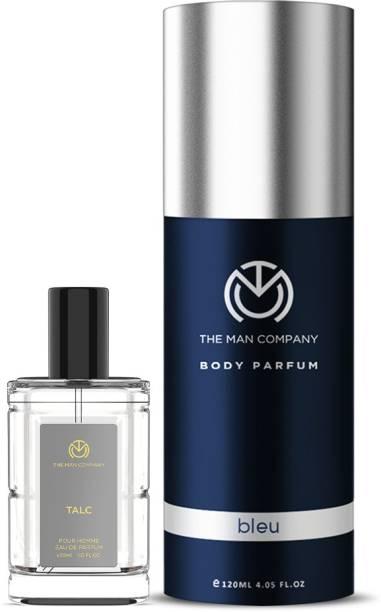 THE MAN COMPANY Luxury Perfume Set with Bleu, Talc for Men | Premium Luxury Long Lasting Fragrance | Premium Spray | Body Perfume for Men | No Gas Deodorant Perfume  -  150 ml
