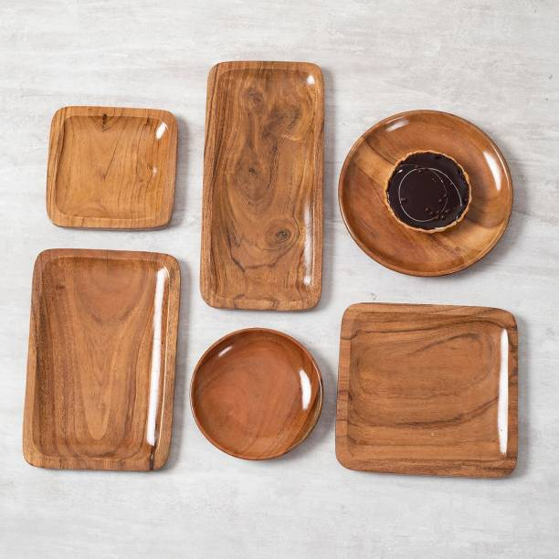nestroots Serving Platter Snack Platters Combo Set of 6 Wooden Platter Tray Serving Tray Cheese Board for Dessert Snacks ( Brown Wooden 12 x 6.5 x 1 inch ) Tray