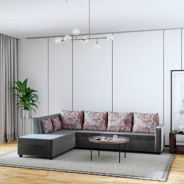 Teal Basics by Chumbak Jasper Fabric 6 Seater  Sofa