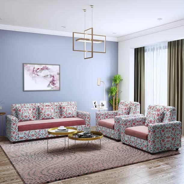 Teal Basics by Chumbak Marion Fabric 3 + 1 + 1 Teal Sofa Set