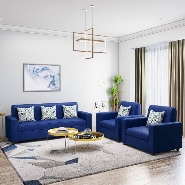 Teal Basics by Chumbak Marion Fabric 3 + 1 + 1 Dark Blue Sofa Set