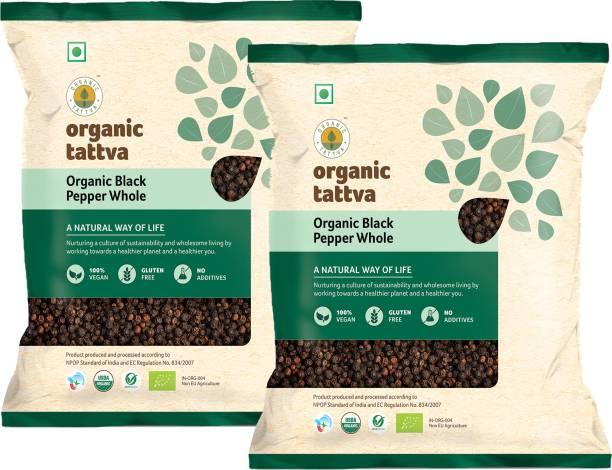 Organic Tattva ,Organic Black Pepper (Kali Mirch) Whole / Sabut- 200 Gram | 100% Vegan, Gluten Free and No Additives