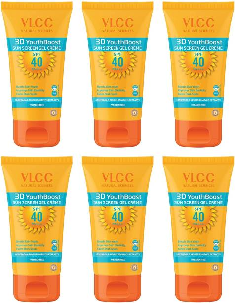 VLCC 3D Youth Boost Sunscreen Gel Creme SPF40 PA (+++) - (Pack of 6 x 100g) - SPF 40 PA++