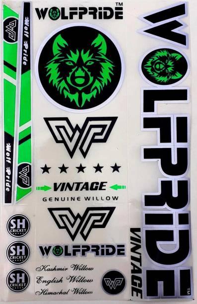 WOLF PRIDE WP GREEN VINTAGE CRICKET BAT STICKER Bat Sticker