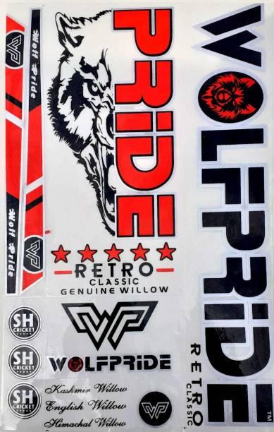 WOLF PRIDE WP RED RETRO CRICKET BAT STICKER Bat Sticker