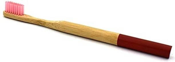 Aromatic Herbs PREMIUM ROUND HANDEL BAMBOO TOOTHBRUSH , RED Medium Toothbrush