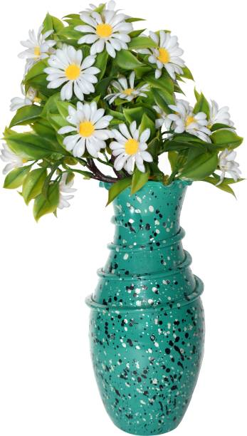 CRAFTVERRE Colored (20 cm)(Flowers Not Included) Glass Vase