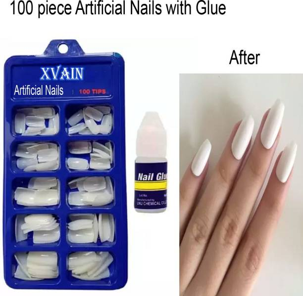 XVAIN Artificial nails 100 Pcs Reusable Acrylic False Nails With Nail Glue For Women's & Girls White (Pack of 100) WITH DIFFERENT SHAPES AND STYLES WHITE transparent