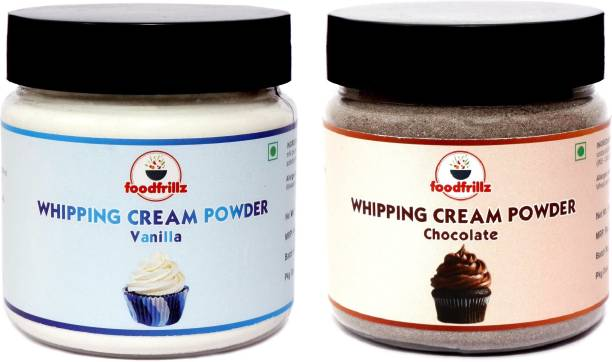 foodfrillz Whipping Cream Powder Vanilla and Chocolate Combo Pack for Icing of cakes, cupcakes Topping