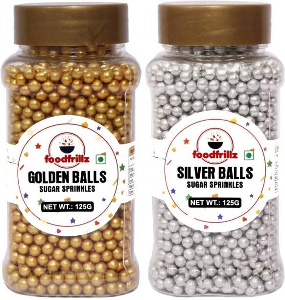 foodfrillz Silver Balls and Golden Balls Sugar Sprinkles for cake decoration Sprinkles