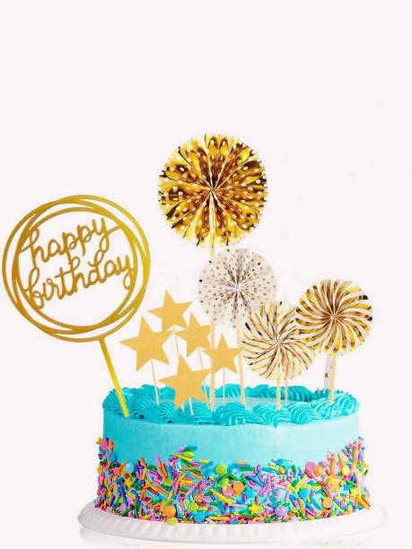 Bash N Splash Happy Birthday Husband / Wife / Mom / Dad Gold Cake Topper SetCake Topper for Party Decorations / Happy Birthday Cake Toppers Set for Cake Supplies Decoration Accessories / Cake Topping Decorating Items / Cake Decorating Items Set for Birthday Cake Topper (Pack of 5) Cake Topper