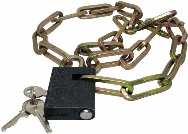 M MOD CON Heavy Stainless-Steel Chain with Medium Size Lock for Travel, Luggage, Safety,Bike Cycle Lock