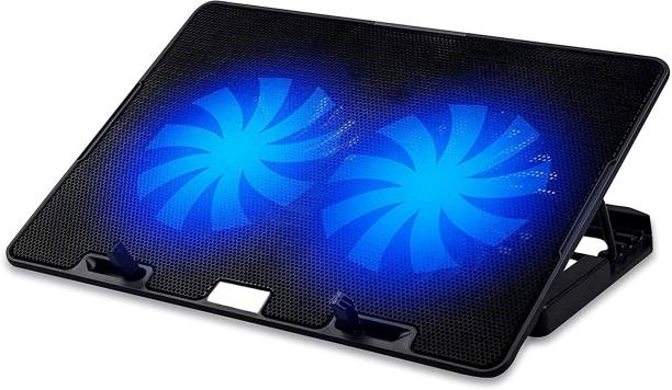 BLUE SQUARE Laptop Cooling Pad with 2 USB Port and 2 Super Silent Cooling Fan (Black)- Laptop Cooling Pad Stand Cooling Pad