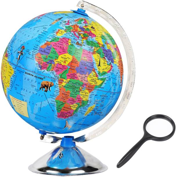 surya globe Globe for Kids, MITTAL Educational World Globe with famous Monuments for Kids/Office Globe/Political Globe/Globes for Students Desk and Table Top Political World Globe