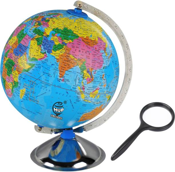 GLOBEHUB HUB Globe for Kids, Educational World Globe with Steel Arc and Base with Magnifying Glass, India Political Wall Charts for Kids/Office Globe/Political Globe/Globes for Students Desk and Table Top Political World Globe