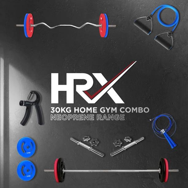 HRX 30 kg Plain, Curl and Dumbbell Rods with Accessories Neoprene Coated Home Gym Combo
