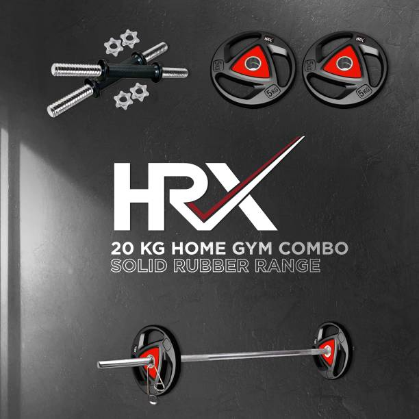 HRX 20 kg Professional Metal Integrated Rubber Plates Set with One 5 Ft Plain and One Pair Dumbbell Rods Home Gym Combo