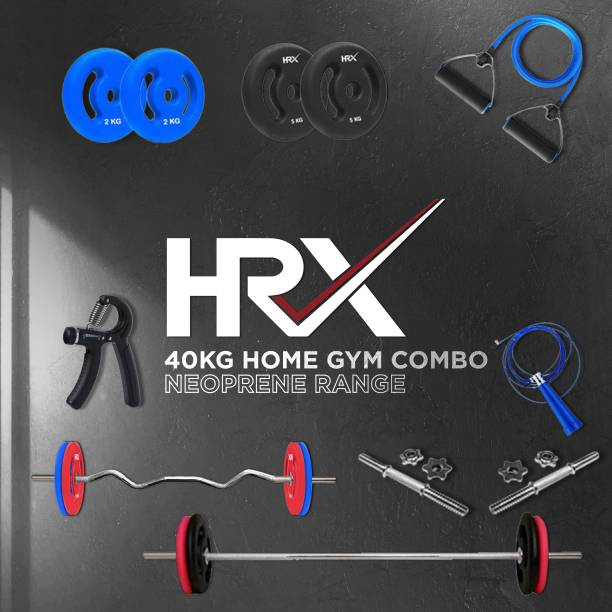 HRX 40 kg Curl, Plain and Dumbbell Rods with Accessories Neoprene Coated Home Gym Combo